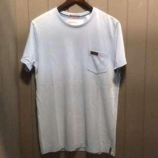 Superdry 極度乾燥 復古洗舊刷色 素面短袖T恤 M號 水藍色