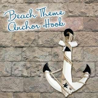 BEACH THEME ANCHOR HOOK DECORATIVE 40x60CM WHITE