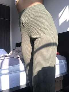 Bershka Flowy Green Pants