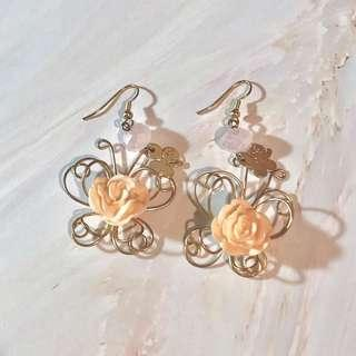 Floral rose earrings accessories flower 玫瑰花 耳環
