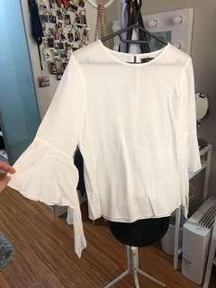 Nichi Flare Sleeved White Top