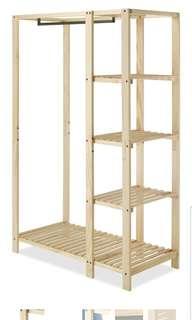 🚚 Whitmor Slat Wood Wardrobe Natural Wood Storage Unit