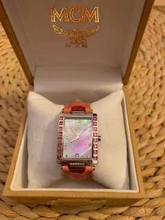 Brand New in box auth MCM ladies' watch pink salmon with Swarowski elements