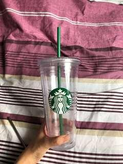 🚚 Classic 20oz Starbucks cold cup green transparent tumbler