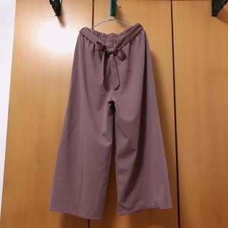 蓮藕色 寬褲 附蝴蝶結綁帶