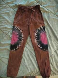 Khaki Abstract Jogger Pants