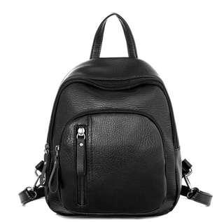 🚚 Faux Leather Mini Black Backpack