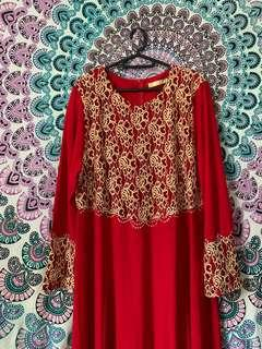 Red with Gold Lace Jubah