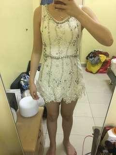 Lace with beads short romper