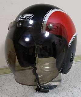 Helmet open Face with bubble visor