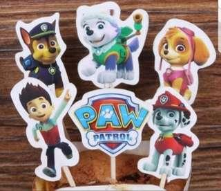 🚚 24pcs Paw Patrol Cake/Cupcake/Muffin Toppers for Party Decoration