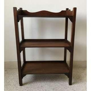 Small Vintage Solid Wood 3-tier Shelf Rack