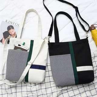 🚚 CY-249 Canvas Korean Ulzzang Style Zip Sling Shoulder Bag