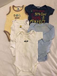5pcs of newborn onesie