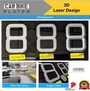 3D Number Plate Laser Engraved Plate Acrylic Design LTA Approved