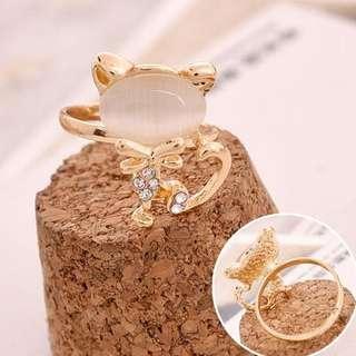 Opal diamond cat rings jewelry cincin kucing