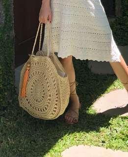 Beach straw crochet bag