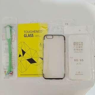 🚚 iphone 6/6s 玻璃保護貼+保護套+led燈