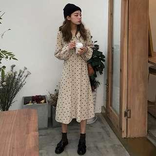 cream polkadots dress