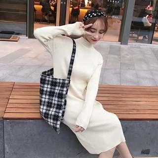 knitted beige dress