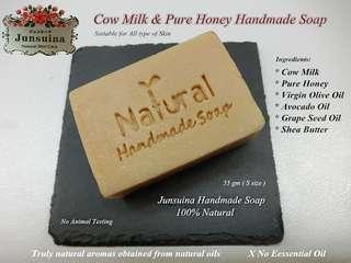 Cow Milk & Pure Honey Handmade Soap ( free Soap box)