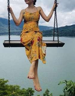 Bareback floral maxi dress