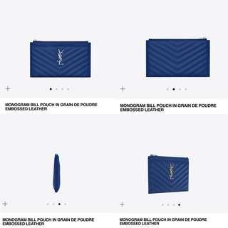 YSL Monogram Pouch 寶藍色