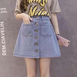 NEW ‼️ high waisted button skirt ~ rok jeans import kancing