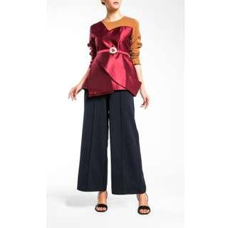 Mimpikita x FashionValet Asymmetric Cutaway Panel Peplum Top In Maroon