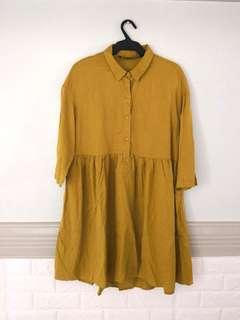 Zara Mustard Button Down Dress