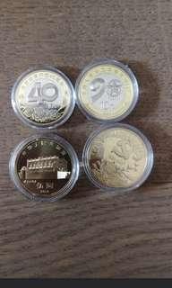 銀行原裝筒,孫中山紀念幣和改革開放四十年和建軍九十年紀念幣一個五十元
