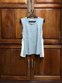 Gray Sleeveless Top with Side Tie Detail