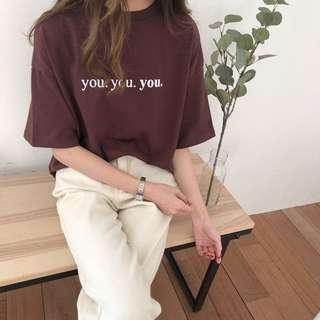 🚚 韓版短袖字母純棉T