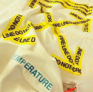 🆕Authentic OFF-WHITE Fire Tape Tee