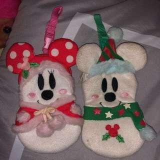 日本 迪士尼 聖誕節 絕版 東京 米奇 米妮 收藏 零錢包 零錢袋 一對 不拆賣