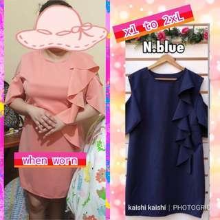 New plus size cold shoulder navy blue dress
