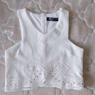 Korean Ulzzang White Floral Lace Cropped Top