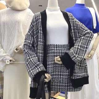 轉賣 全新 EONNII 針織外套+格子裙 $1100