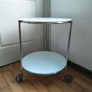 【LoveloVe】IKEA斯特林白色滾輪邊桌.雙層圓茶几