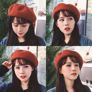 Vintage beret Korean Style winter Cap