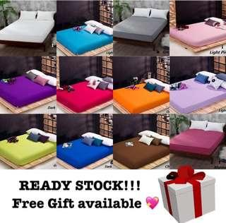 Plain fitted bedsheet + pillowcase + free gift (king)