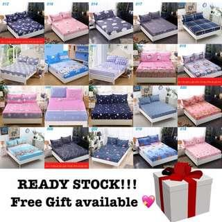 Fitted bedsheet + pillowcase + free gift (queen)