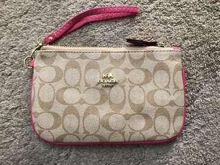 Coach Womans Wristlet Khaki/Pink