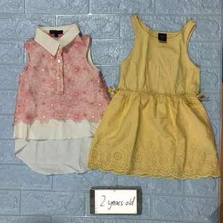 Gap yellow dress and Periwinkle pink top