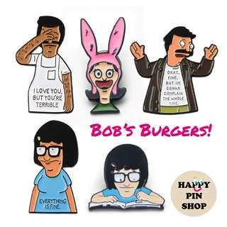 Bob's Burgers Enamel Pins! Bob, Tina , Louise