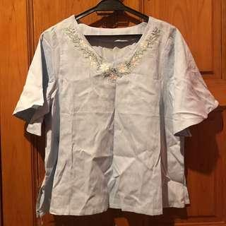 Embroidery Flower Top Light Blue