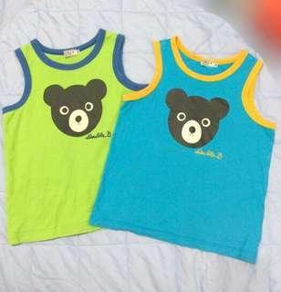 🚚 Miki house double b 男童藍色大臉黑熊背心120cm