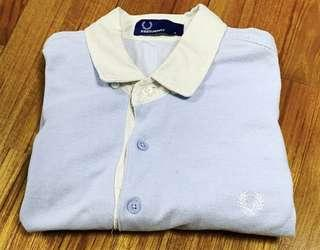 Fred Perry Oxford Blue White Collar Polo Shirt 暗藍白領T恤 Size S