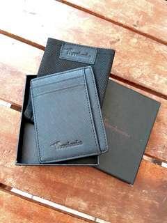 Travelambo RFID Front Pocket Minimalist Slim Wallet (Unisex) Black Crosshatch Leather