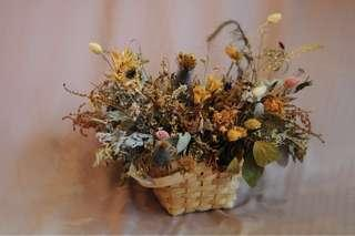 Artistic Dried Flowers in Basket